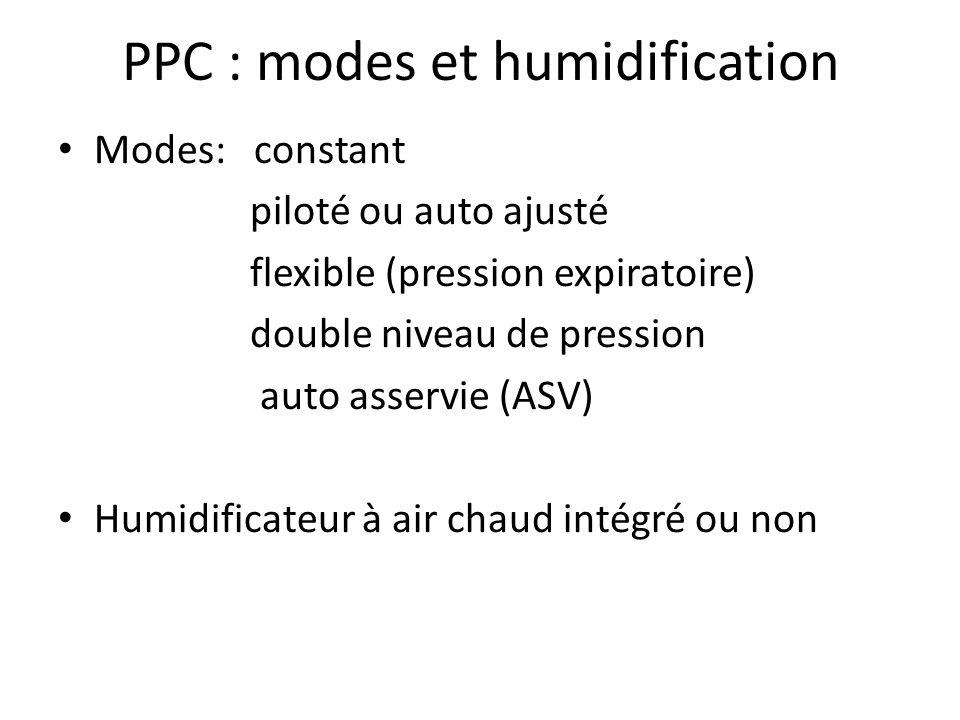 PPC : modes et humidification Modes: constant piloté ou auto ajusté flexible (pression expiratoire) double niveau de pression auto asservie (ASV) Humi