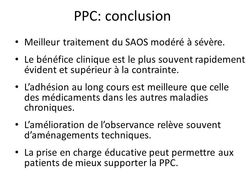 PPC: conclusion Meilleur traitement du SAOS modéré à sévère. Le bénéfice clinique est le plus souvent rapidement évident et supérieur à la contrainte.
