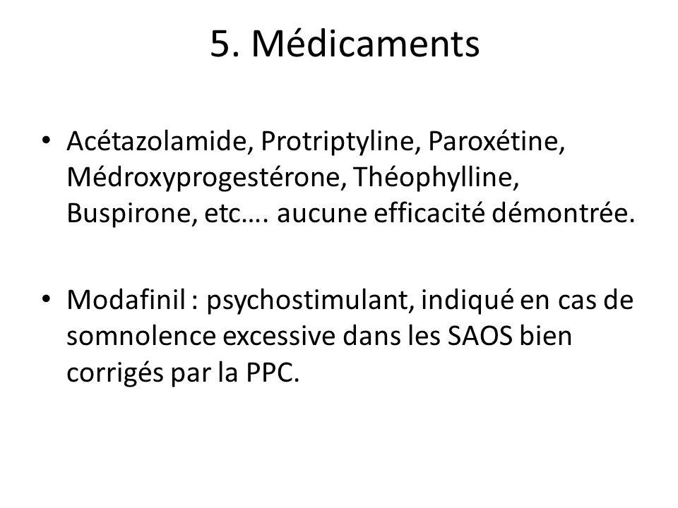 5. Médicaments Acétazolamide, Protriptyline, Paroxétine, Médroxyprogestérone, Théophylline, Buspirone, etc…. aucune efficacité démontrée. Modafinil :