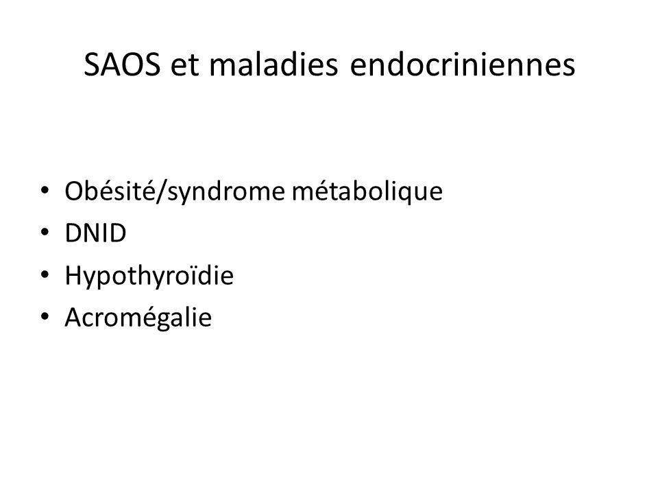 SAOS et maladies endocriniennes Obésité/syndrome métabolique DNID Hypothyroïdie Acromégalie