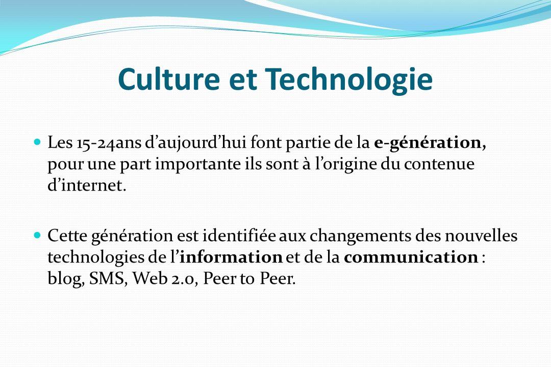 Culture et Technologie Les 15-24ans daujourdhui font partie de la e-génération, pour une part importante ils sont à lorigine du contenue dinternet. Ce