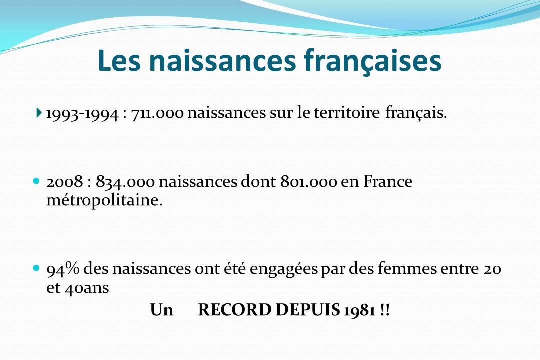 Les naissances françaises 1993-1994 : 711.000 naissances sur le territoire français. 2008 : 834.000 naissances dont 801.000 en France métropolitaine.