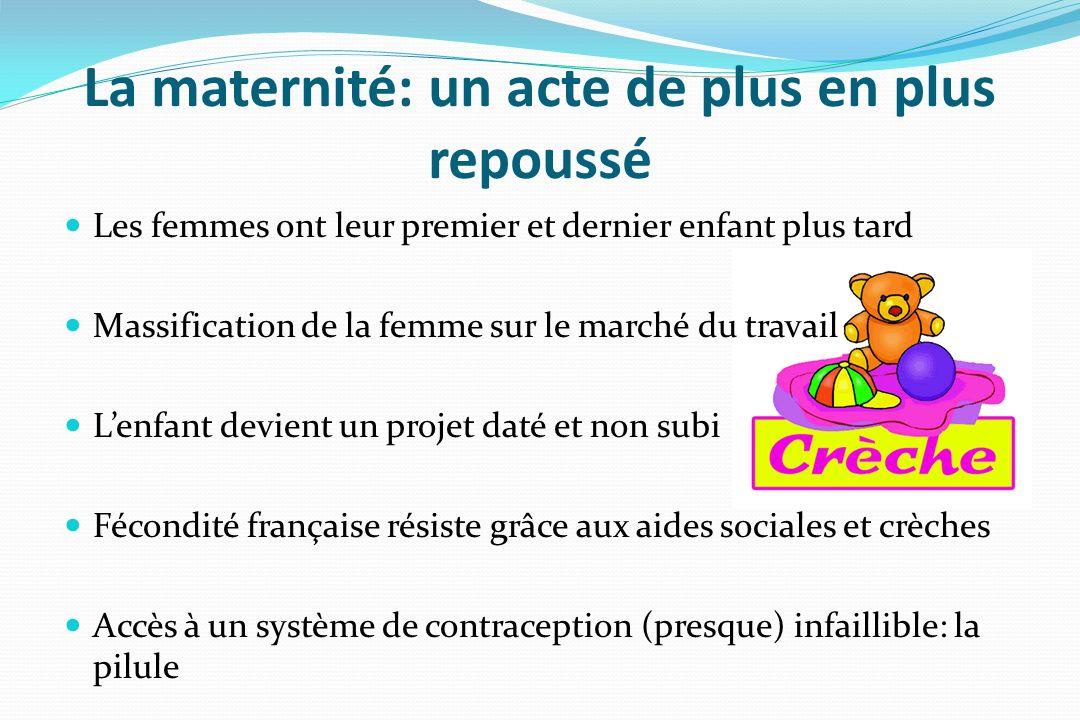 La maternité: un acte de plus en plus repoussé Les femmes ont leur premier et dernier enfant plus tard Massification de la femme sur le marché du trav