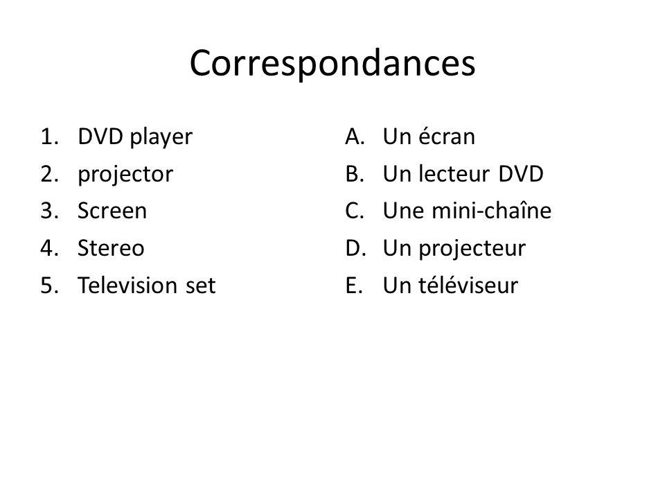 Correspondances 1.DVD player 2.projector 3.Screen 4.Stereo 5.Television set A.Un écran B.Un lecteur DVD C.Une mini-chaîne D.Un projecteur E.Un télévis