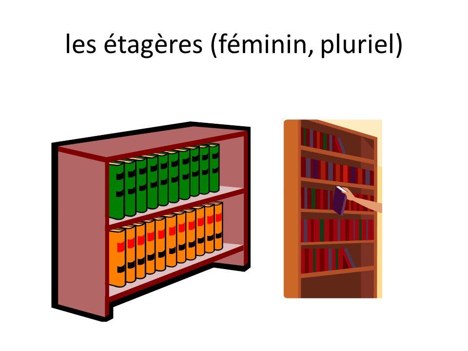 les étagères (féminin, pluriel)