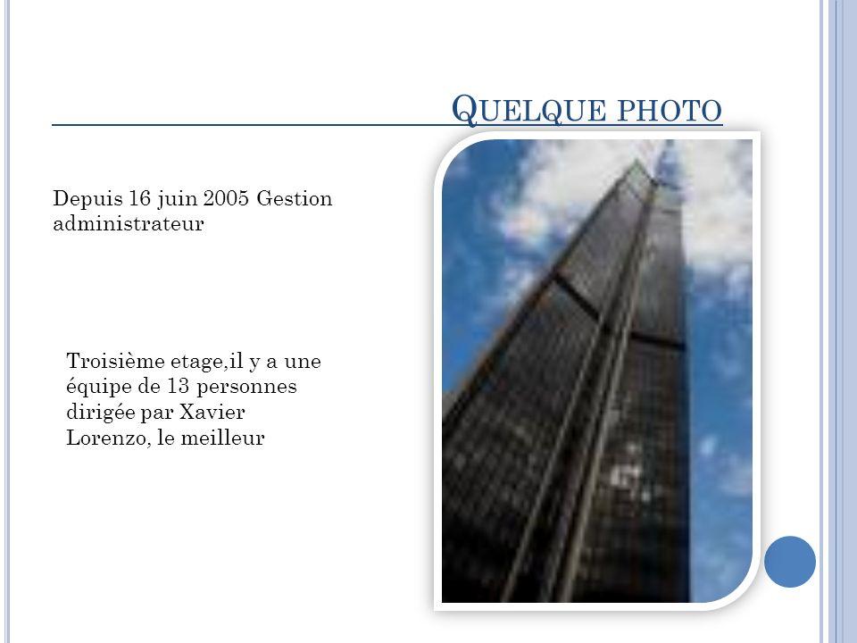 Q UELQUE PHOTO Depuis 16 juin 2005 Gestion administrateur Troisième etage,il y a une équipe de 13 personnes dirigée par Xavier Lorenzo, le meilleur