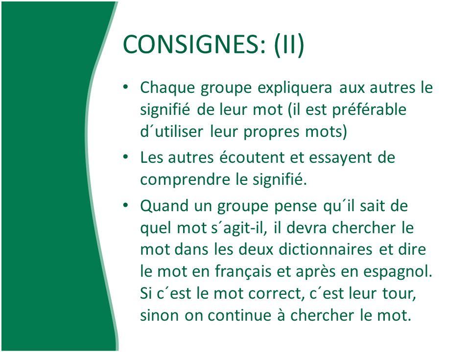 CONSIGNES: (II) Chaque groupe expliquera aux autres le signifié de leur mot (il est préférable d´utiliser leur propres mots) Les autres écoutent et es