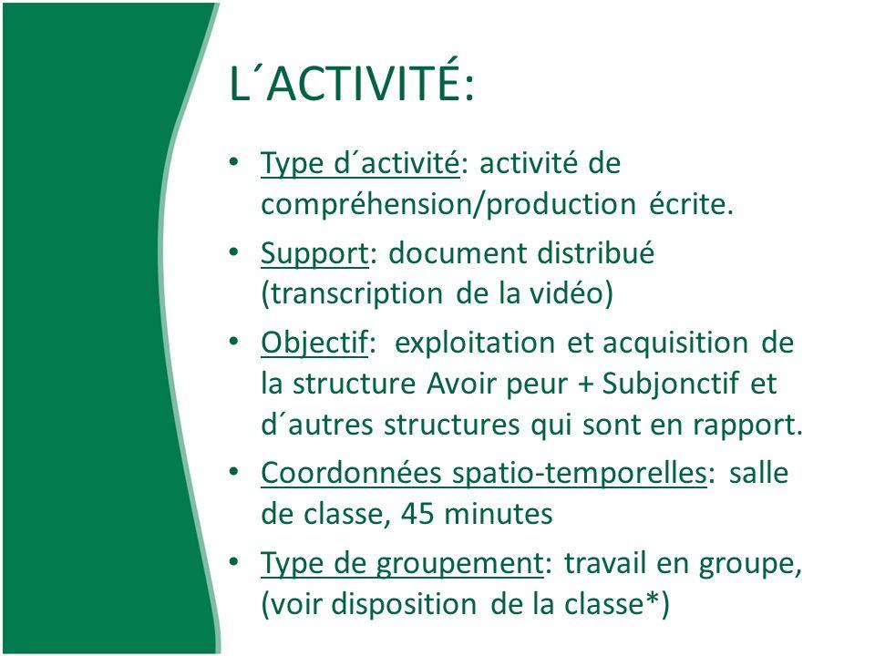L´ACTIVITÉ: Type d´activité: activité de compréhension/production écrite. Support: document distribué (transcription de la vidéo) Objectif: exploitati