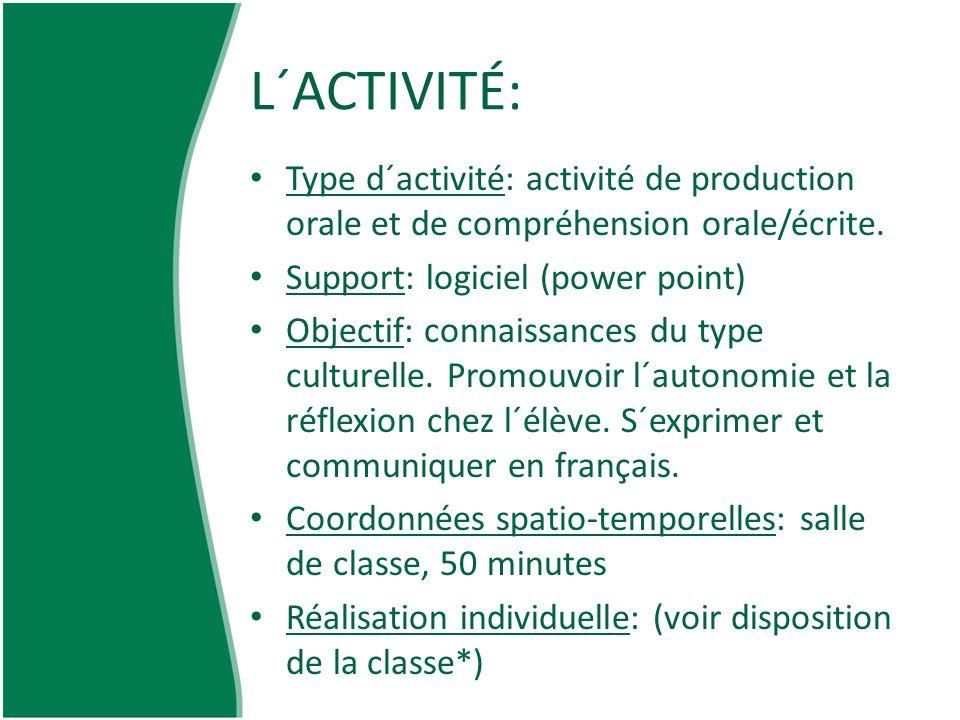 L´ACTIVITÉ: Type d´activité: activité de production orale et de compréhension orale/écrite. Support: logiciel (power point) Objectif: connaissances du