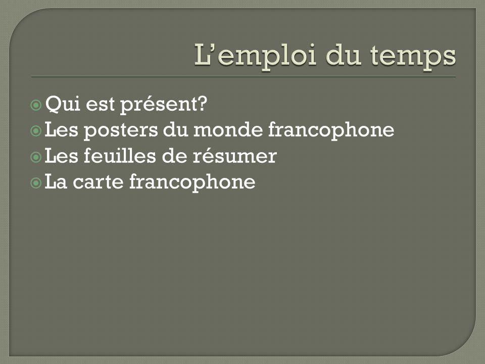Qui est présent? Les posters du monde francophone Les feuilles de résumer La carte francophone