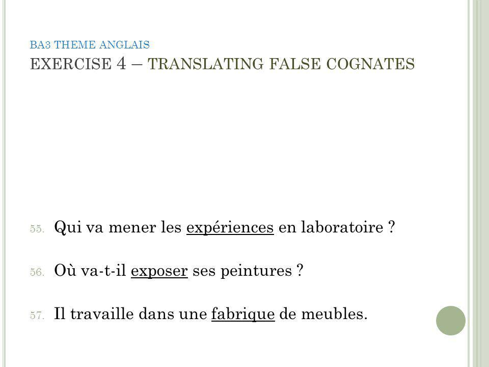 BA3 THEME ANGLAIS EXERCISE 4 – TRANSLATING FALSE COGNATES 55.