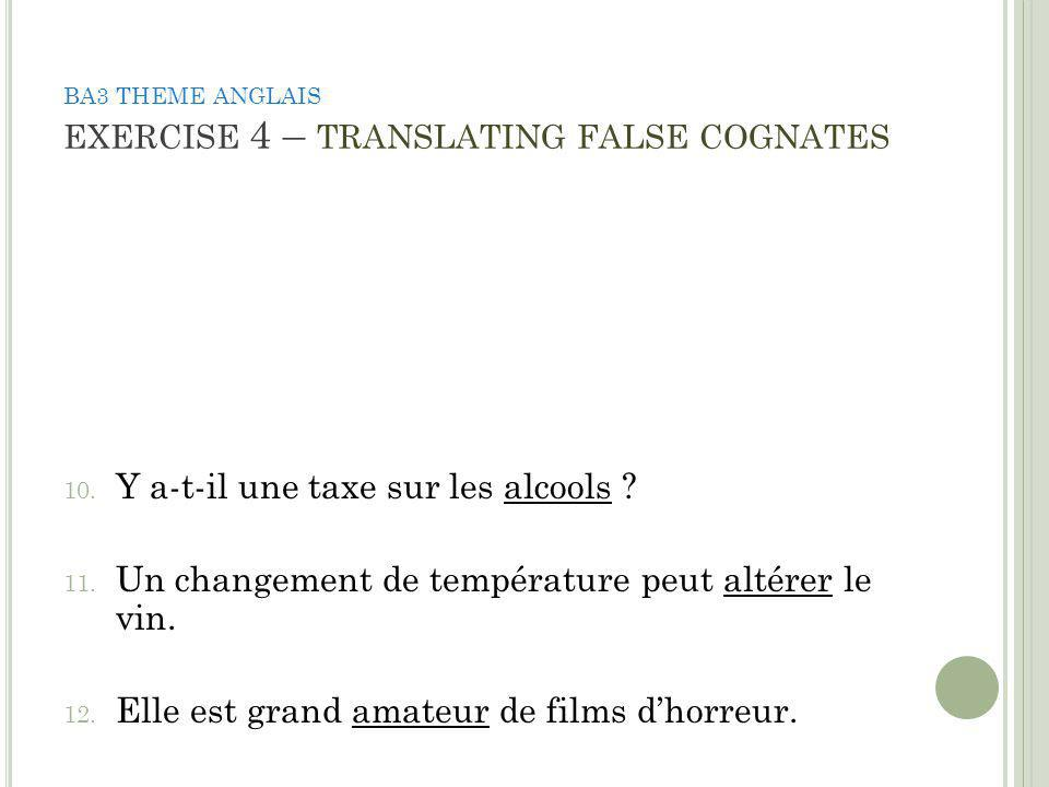 BA3 THEME ANGLAIS EXERCISE 4 – TRANSLATING FALSE COGNATES 168.