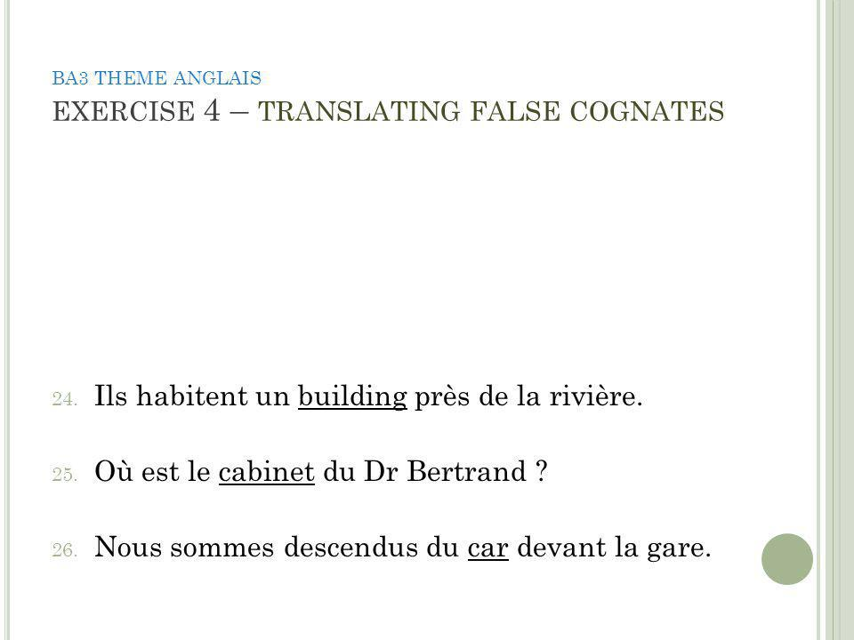 BA3 THEME ANGLAIS EXERCISE 4 – TRANSLATING FALSE COGNATES 24.