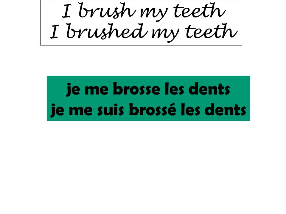 I brush my teeth I brushed my teeth je me brosse les dents je me suis brossé les dents
