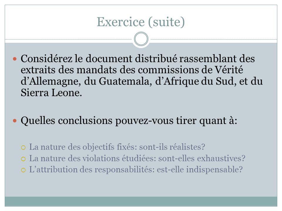 Exercice (suite) Considérez le document distribué rassemblant des extraits des mandats des commissions de Vérité dAllemagne, du Guatemala, dAfrique du Sud, et du Sierra Leone.