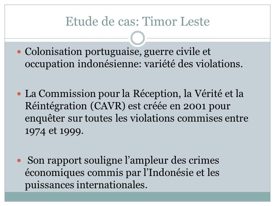 Etude de cas: Timor Leste Colonisation portuguaise, guerre civile et occupation indonésienne: variété des violations.