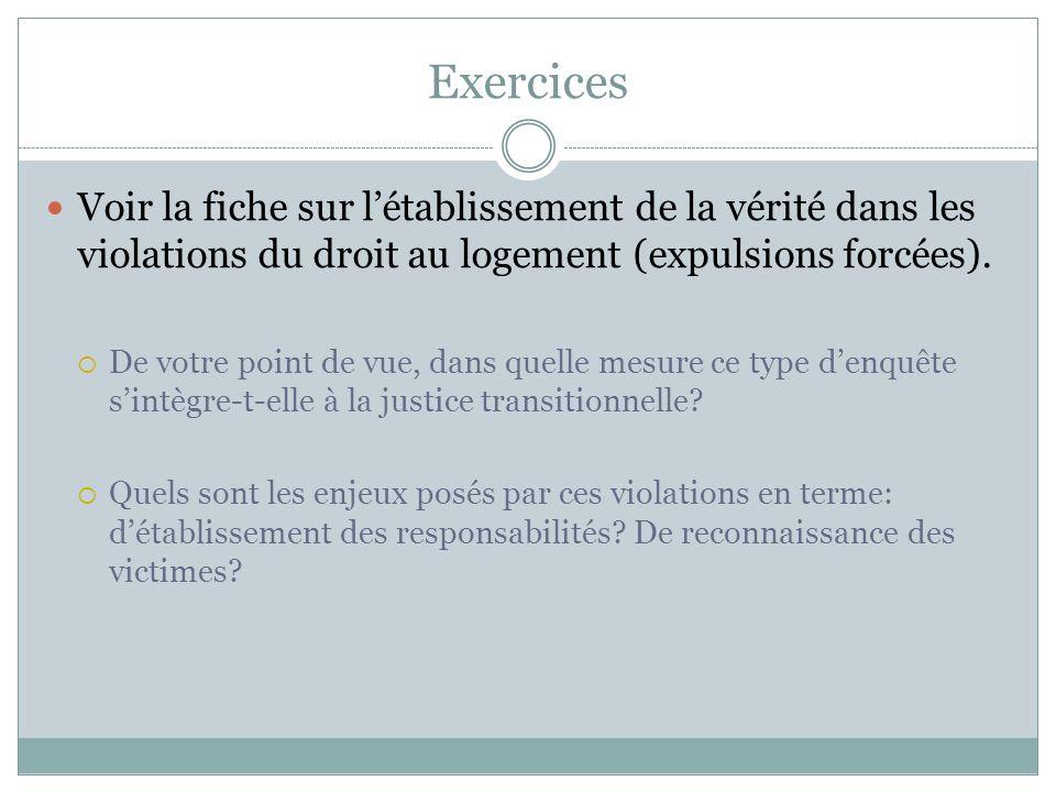 Exercices Voir la fiche sur létablissement de la vérité dans les violations du droit au logement (expulsions forcées).