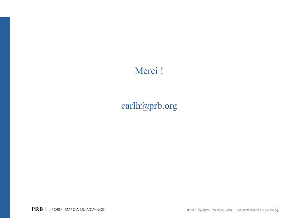 © 2009 Population Reference Bureau. Tous droits réservés. www.prb.org Merci ! carlh@prb.org