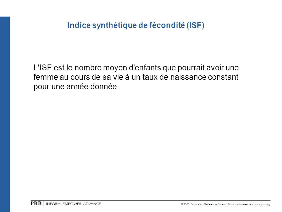 © 2009 Population Reference Bureau. Tous droits réservés. www.prb.org Indice synthétique de fécondité (ISF) L'ISF est le nombre moyen d'enfants que po
