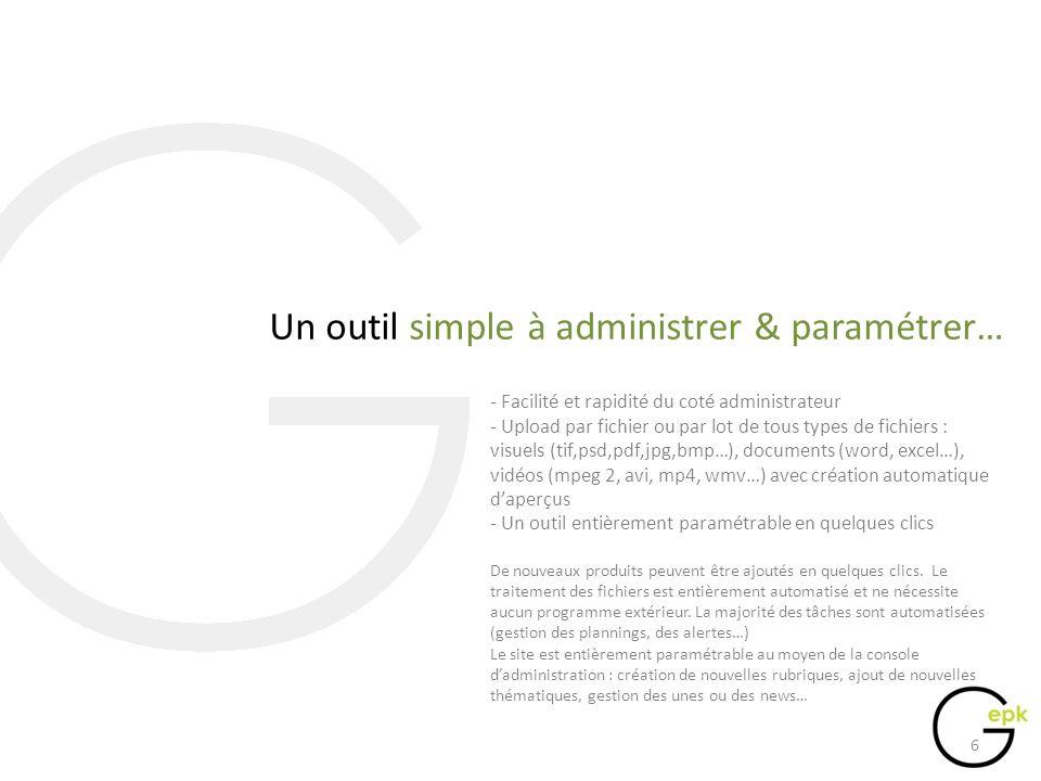 …et enfantin du coté client - Accès à linformation en 3 clics - Regroupement de linformation par pôles et par supports - Téléchargement directs ou par panier zip - 2 niveaux daperçus pour chaque fichier (mini et médium) Afin de faciliter laccès à linformation, le parcours client est simplifié à lextrême.