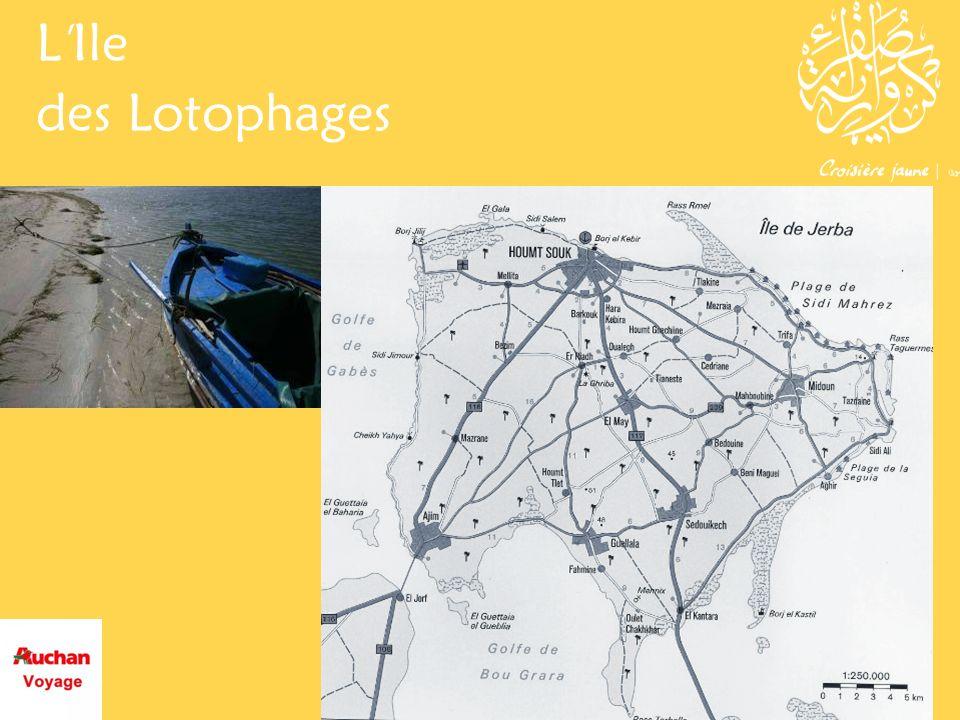 Lile des Lotophages aux portes du rêve Djerba se situe dans le sud de la Tunisie, à quelque 50 km au nord de Médenine, entre les péninsules de Jorf et de Zarzis.