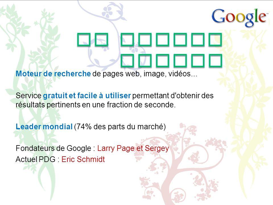 Moteur de recherche de pages web, image, vidéos... Service gratuit et facile à utiliser permettant d'obtenir des résultats pertinents en une fraction