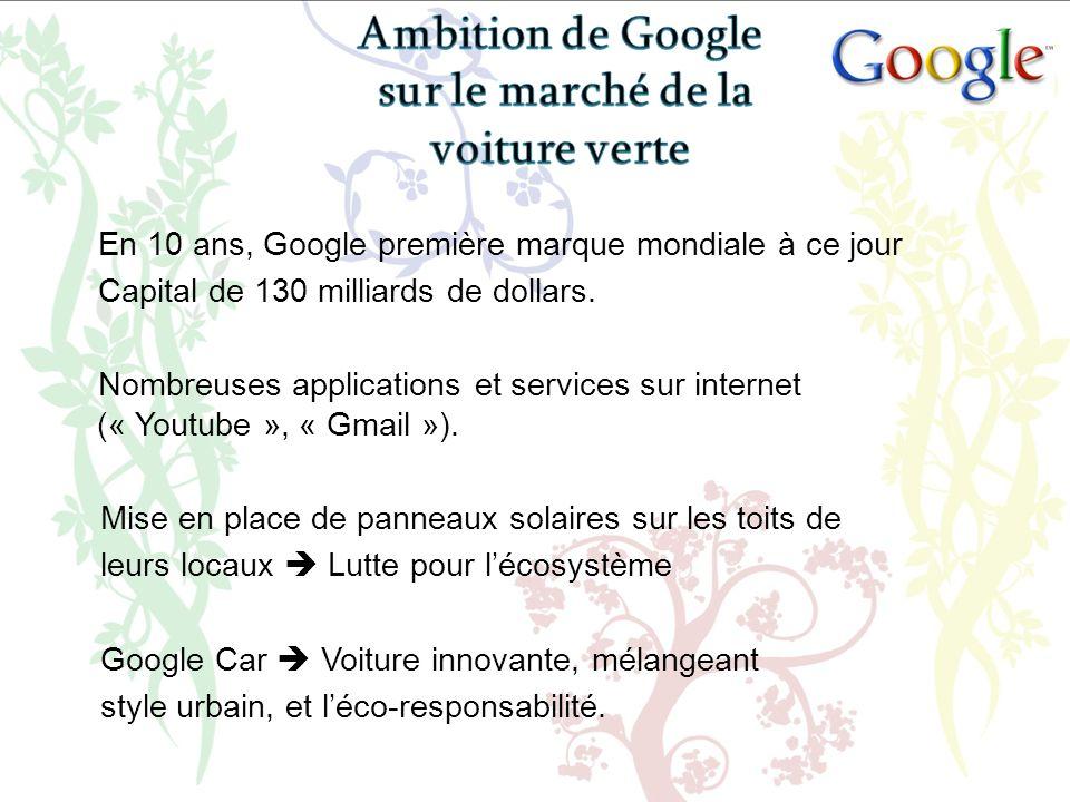 En 10 ans, Google première marque mondiale à ce jour Capital de 130 milliards de dollars. Nombreuses applications et services sur internet (« Youtube