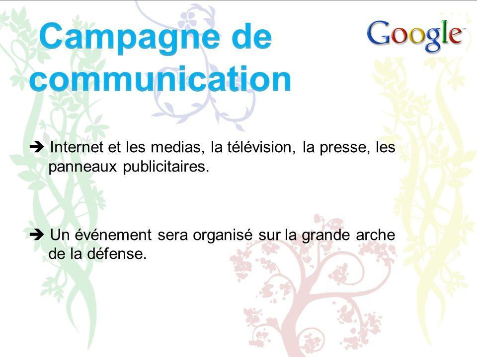 Internet et les medias, la télévision, la presse, les panneaux publicitaires. Un événement sera organisé sur la grande arche de la défense.