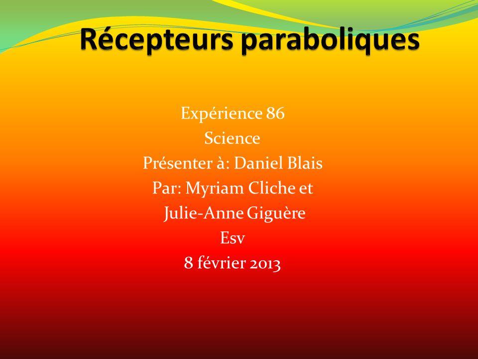 Expérience 86 Science Présenter à: Daniel Blais Par: Myriam Cliche et Julie-Anne Giguère Esv 8 février 2013