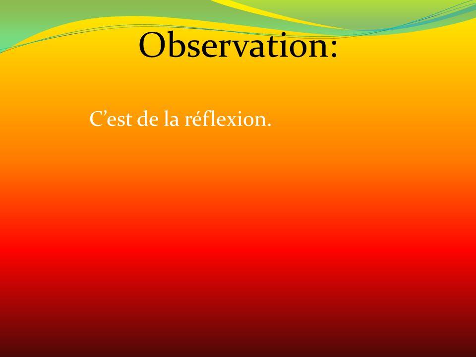 Observation: Cest de la réflexion.