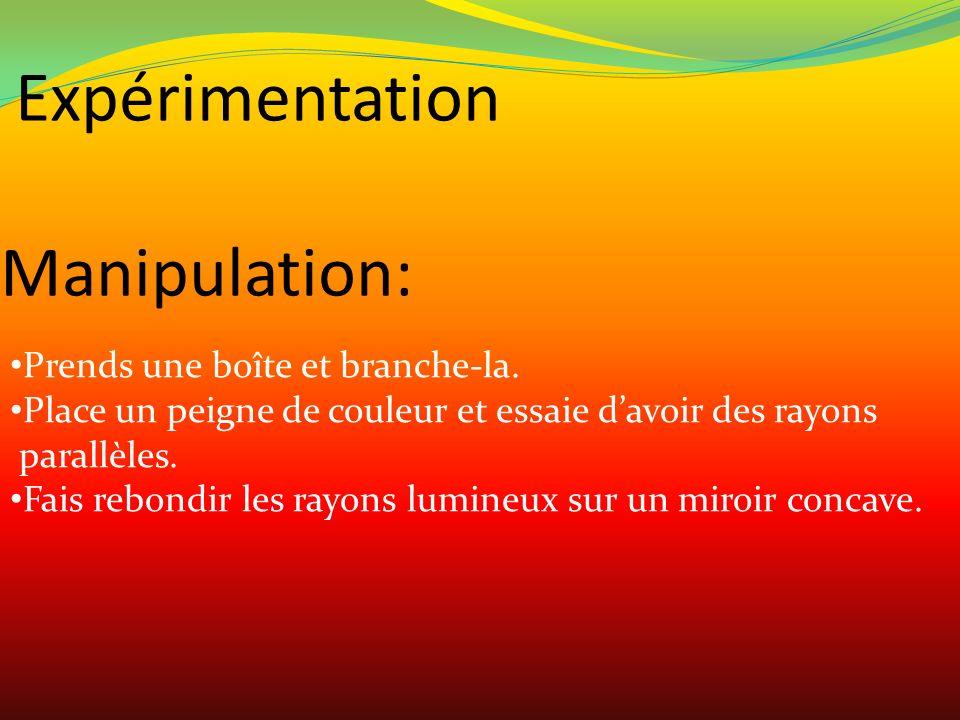 Manipulation: Prends une boîte et branche-la. Place un peigne de couleur et essaie davoir des rayons parallèles. Fais rebondir les rayons lumineux sur