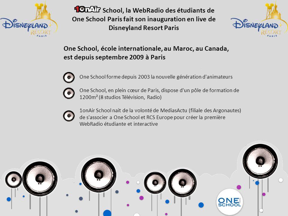 One School forme depuis 2003 la nouvelle génération d'animateurs One School, en plein cœur de Paris, dispose d'un pôle de formation de 1200m² (8 studi