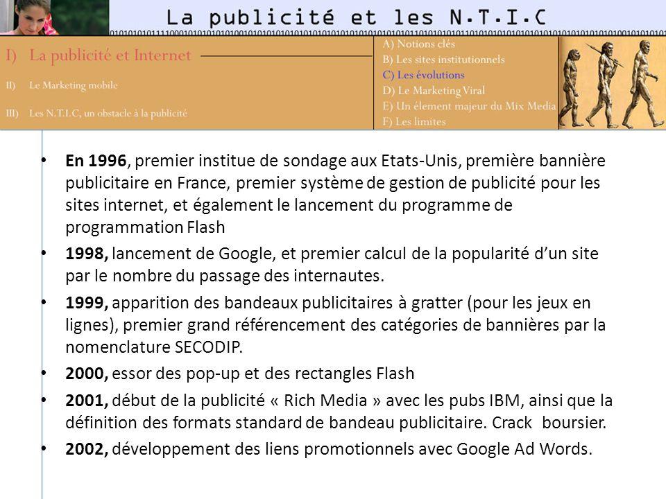 En 1996, premier institue de sondage aux Etats-Unis, première bannière publicitaire en France, premier système de gestion de publicité pour les sites