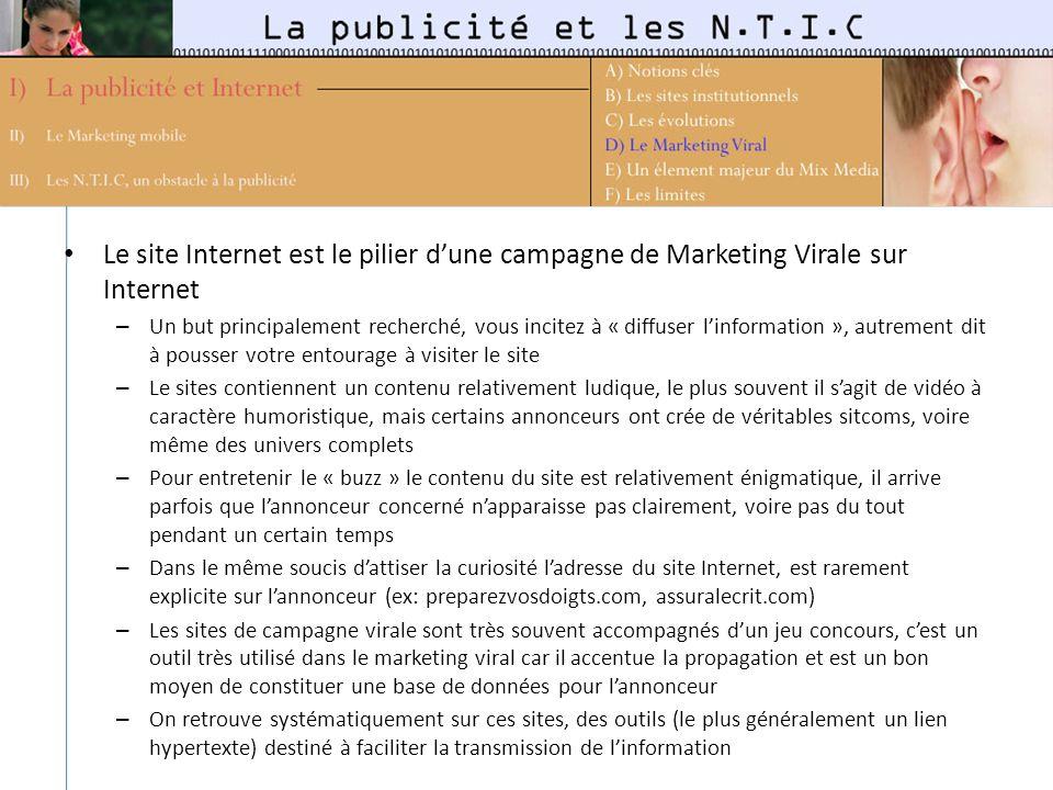 Le site Internet est le pilier dune campagne de Marketing Virale sur Internet – Un but principalement recherché, vous incitez à « diffuser linformatio