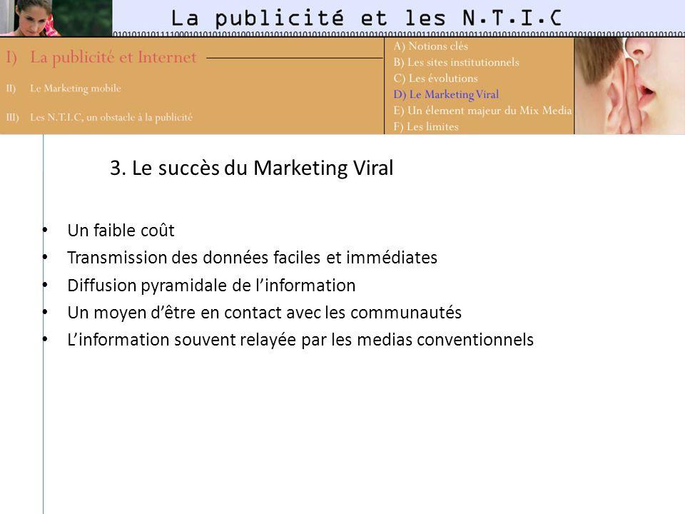3. Le succès du Marketing Viral Un faible coût Transmission des données faciles et immédiates Diffusion pyramidale de linformation Un moyen dêtre en c