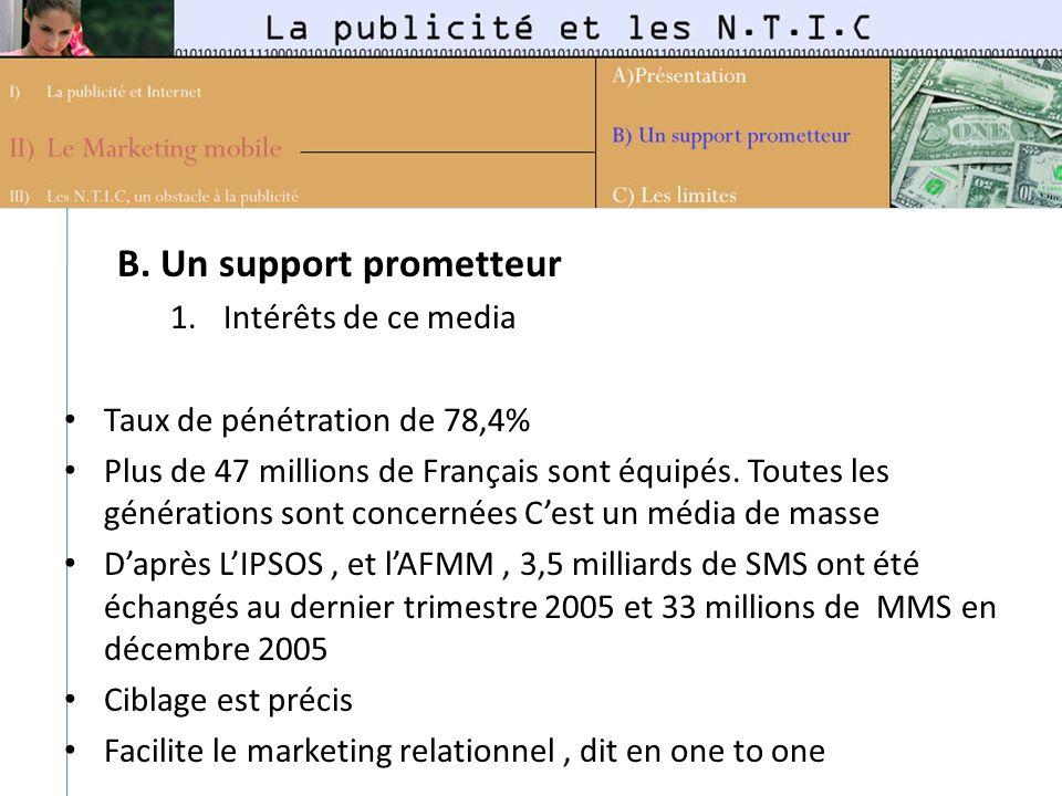 B. Un support prometteur 1.Intérêts de ce media Taux de pénétration de 78,4% Plus de 47 millions de Français sont équipés. Toutes les générations sont