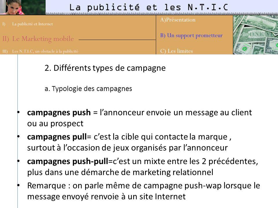 2. Différents types de campagne a. Typologie des campagnes campagnes push = lannonceur envoie un message au client ou au prospect campagnes pull= cest