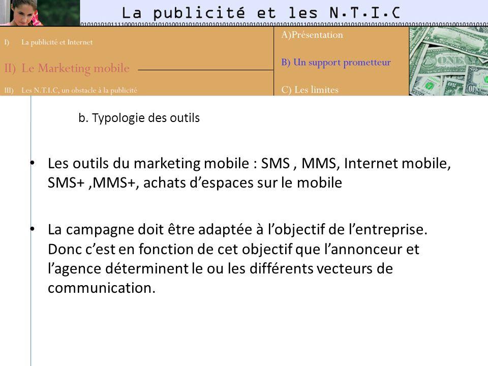 b. Typologie des outils Les outils du marketing mobile : SMS, MMS, Internet mobile, SMS+,MMS+, achats despaces sur le mobile La campagne doit être ada
