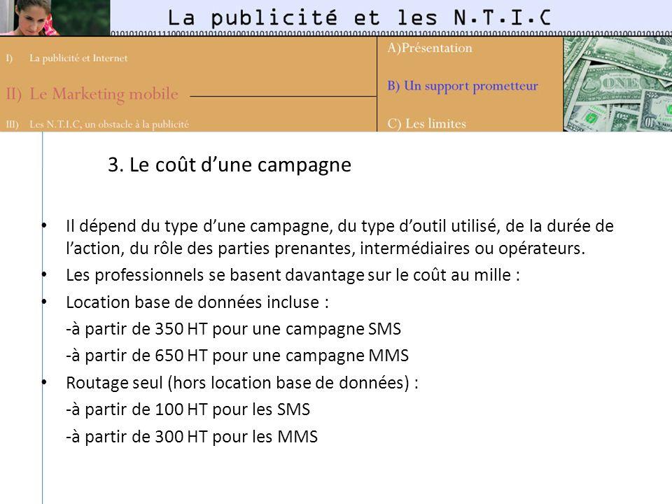 3. Le coût dune campagne Il dépend du type dune campagne, du type doutil utilisé, de la durée de laction, du rôle des parties prenantes, intermédiaire