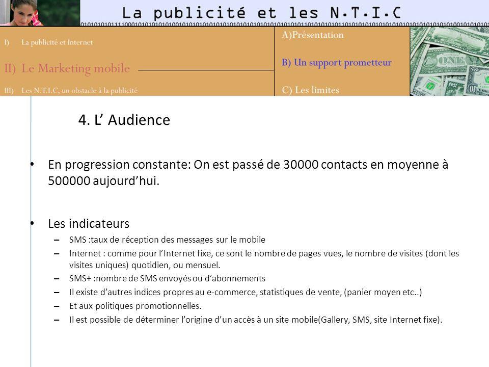 4. L Audience En progression constante: On est passé de 30000 contacts en moyenne à 500000 aujourdhui. Les indicateurs – SMS :taux de réception des me