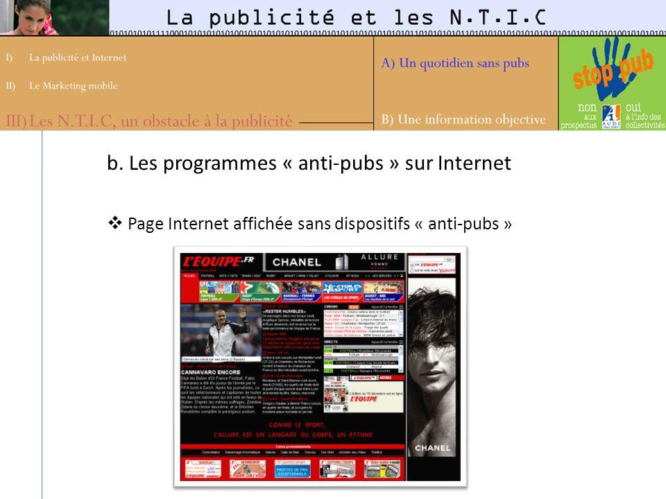 b. Les programmes « anti-pubs » sur Internet Page Internet affichée sans dispositifs « anti-pubs »