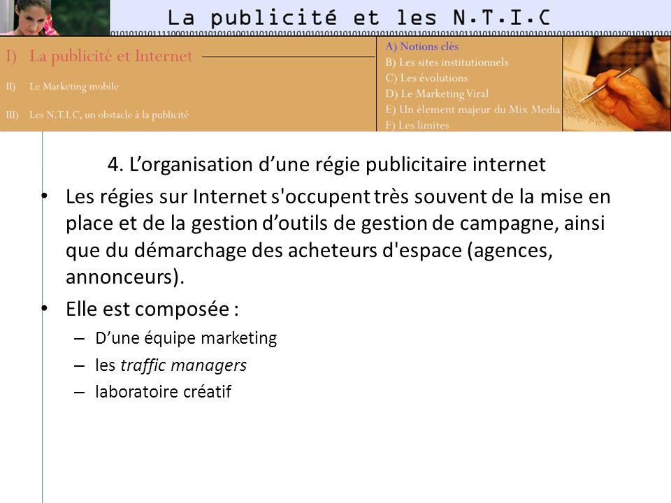 4. Lorganisation dune régie publicitaire internet Les régies sur Internet s'occupent très souvent de la mise en place et de la gestion doutils de gest