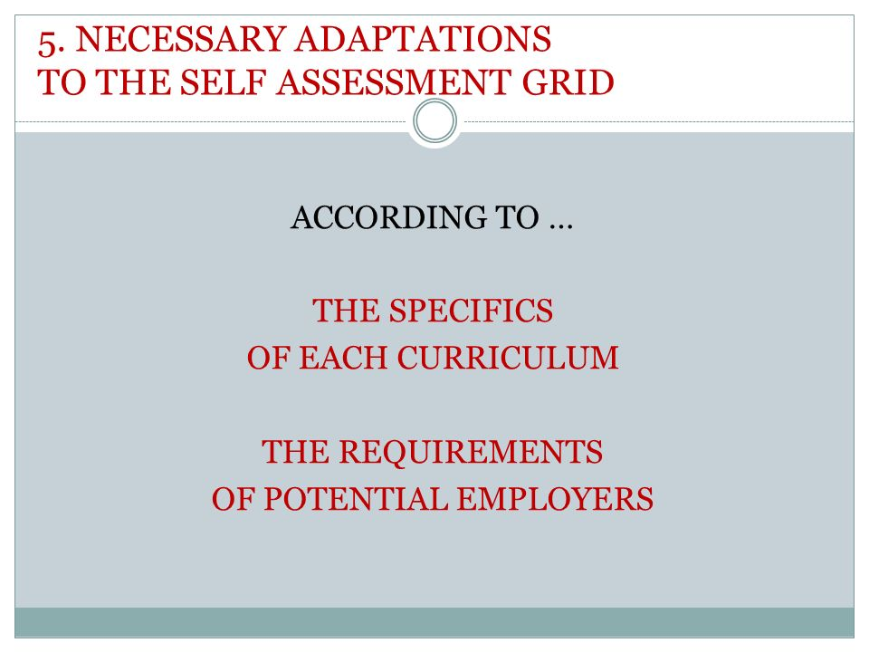 5. NECESSARY ADAPTATIONS TO THE SELF ASSESSMENT GRID ACCORDING TO … THE SPECIFICS OF EACH CURRICULUM THE REQUIREMENTS OF POTENTIAL EMPLOYERS