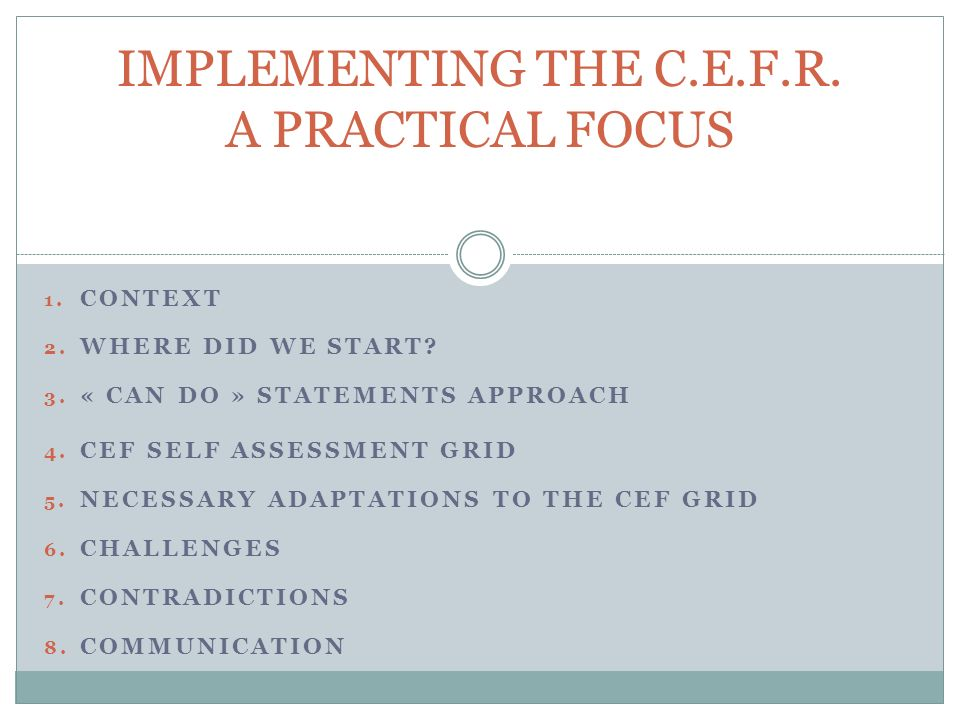 6. CONTRADICTIONS THE COMPETENCE FOCUS VS INPUT ASSESSMENT