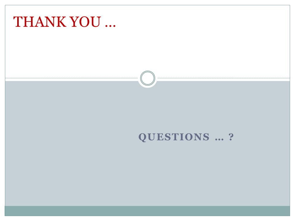 QUESTIONS … ? THANK YOU …
