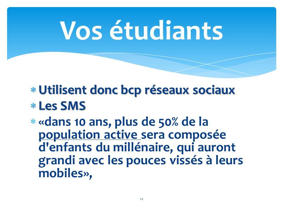 Utilisent donc bcp réseaux sociaux Utilisent donc bcp réseaux sociaux Les SMS Les SMS «dans 10 ans, plus de 50% de la population active sera composée