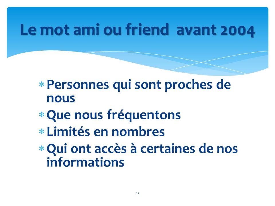 Personnes qui sont proches de nous Que nous fréquentons Limités en nombres Qui ont accès à certaines de nos informations 21 Le mot ami ou friend avant
