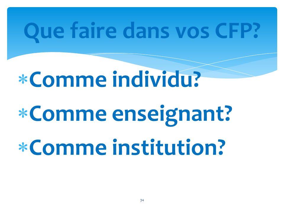 Comme individu? Comme enseignant? Comme institution? 34 Que faire dans vos CFP?