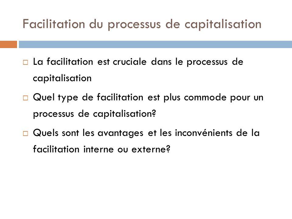 Facilitation du processus de capitalisation La facilitation est cruciale dans le processus de capitalisation Quel type de facilitation est plus commod