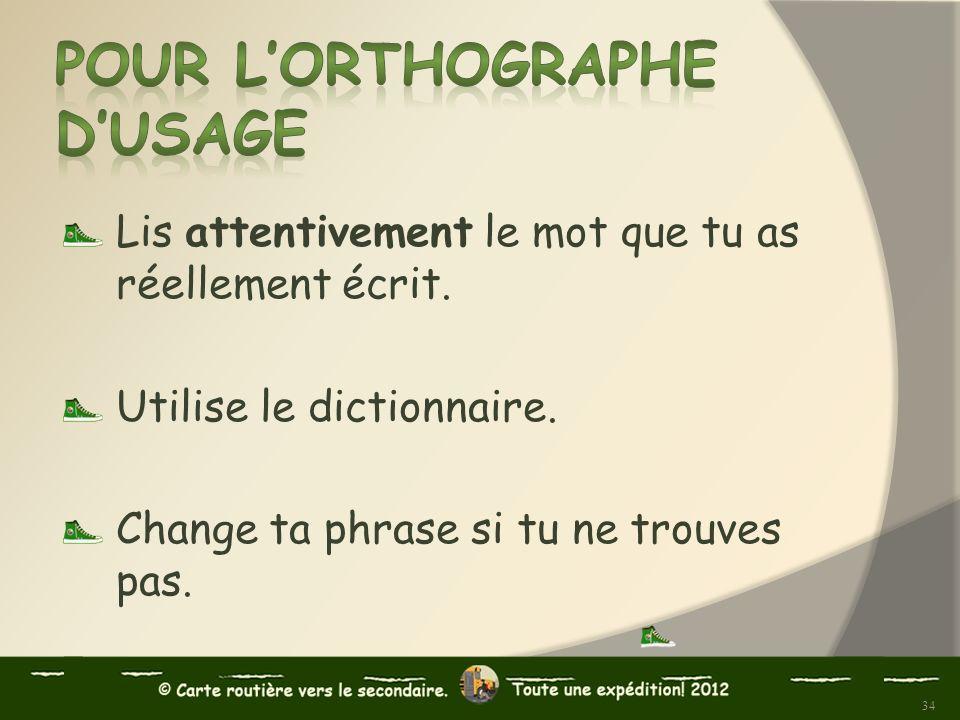 Lis attentivement le mot que tu as réellement écrit. Utilise le dictionnaire. Change ta phrase si tu ne trouves pas. 34